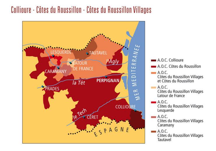 Roussillon kaart wijnstreken