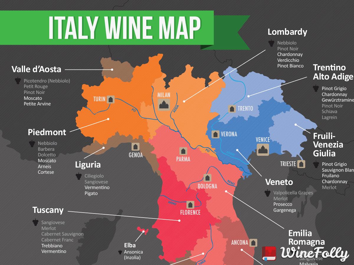 Italie 2015 NW wine map