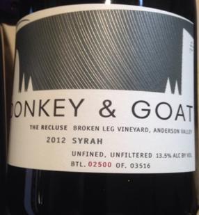 Afbeeldingsresultaat voor donkey goat winery the recluse label